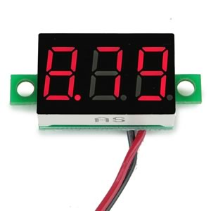 Compact 3.2V to 30VDC 3-Digit Red Voltmeter