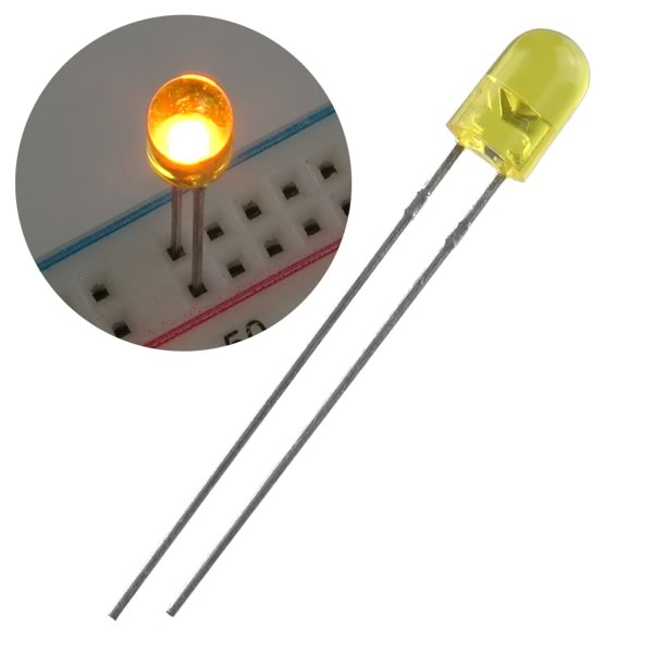 Bright Yellow 5mm LED (pkg 20)