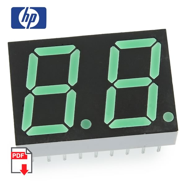 (Pkg 8) HP HDSP-K511 2 Digit Common Anode Green 7 Segment Display