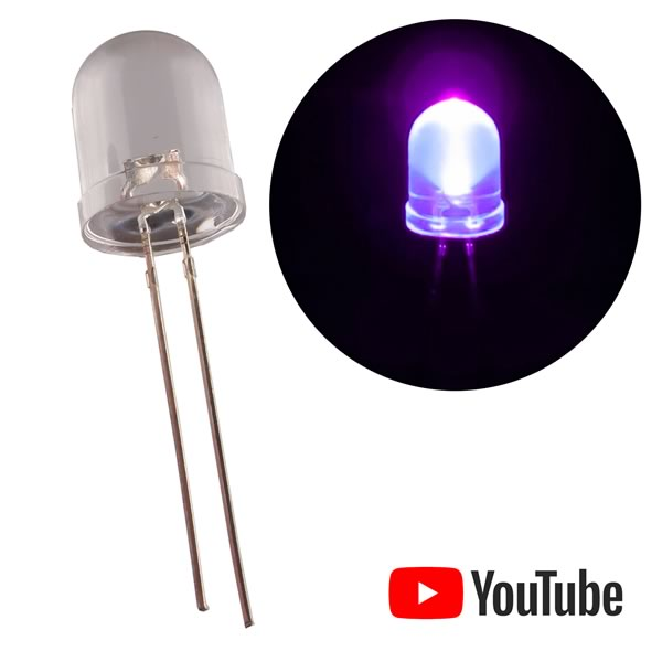 (Pkg 5)  Giant SUPERBRIGHT 10mm UV LED