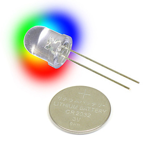 Flashing Rainbow LED and Coin Battery
