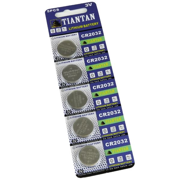 Card of 5 CR2032 Lithium Coin Batteries