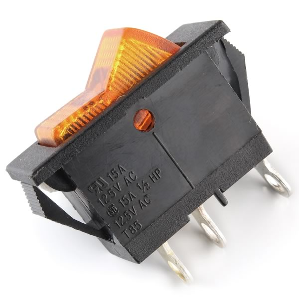(Pkg 5) 15Amp Lighted Rocker Switch - Orange