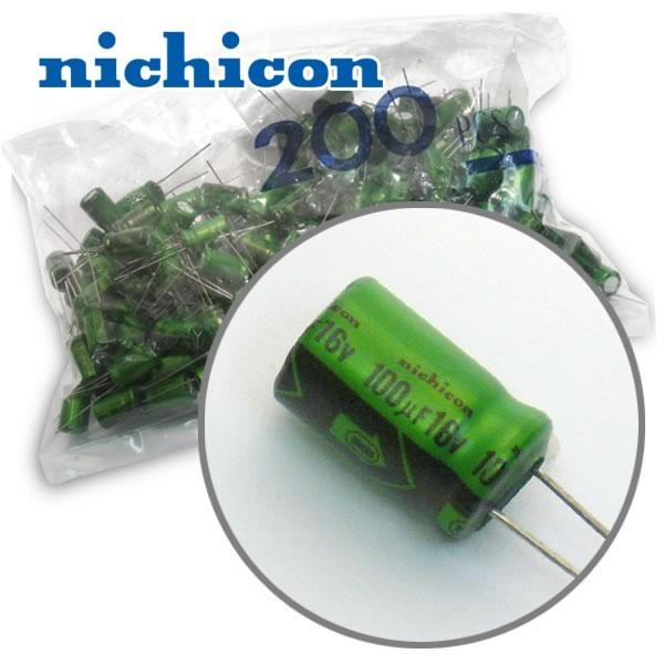 CLEARANCE! (Pkg 200) Nichicon 100uF 16V Radial Electrolytic Capacitor