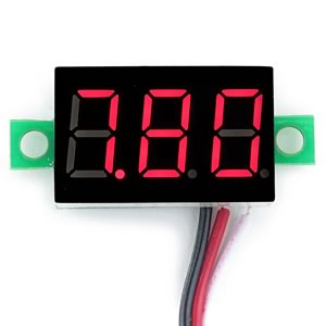 0-32VDC 3 Lead Red Voltmeter
