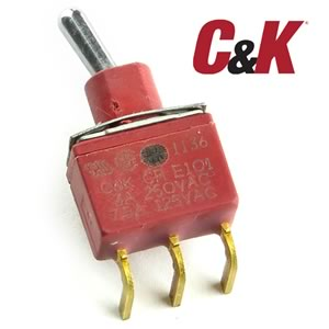 (Pkg of 5) C&K E101 SPDT PC Mount Toggle Switch