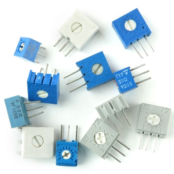 (Pkg 12) Square Single Turn Trimmer Resistor Assortment