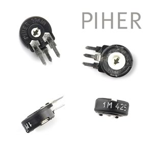 (Pkg 20) Piher 10mm 1 Meg Vertical Trimmer Resistor