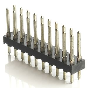 (Pkg 4) Dual 10 Pin (20 Pins Total) Male Header