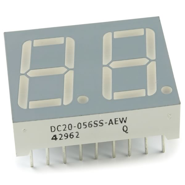 (Pkg 4) Ultra Bright Common Cathode Dual Red 7 Segment Display