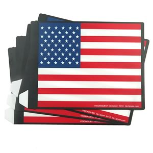 (Pkg 4) Colorful American Flag Plastic Sheet Display