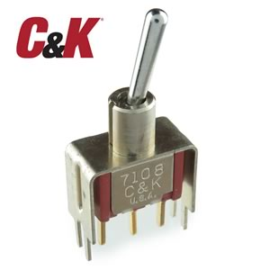 C&K Spring Return SPDT PC Mount Toggle Switch