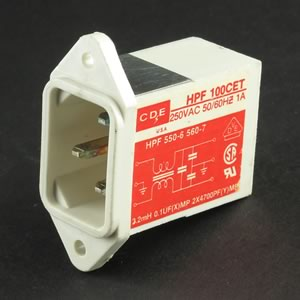 CDE 250VAC 50/60Hz 1Amp Power Entry Connector/Filter