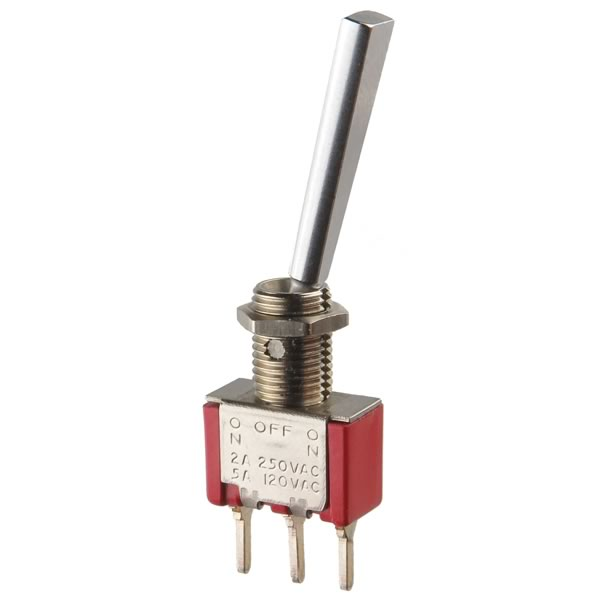 C&K Long Handle Miniature ON-OFF-ON SPDT Toggle Switch