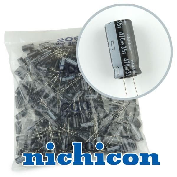(Bag of 200) Nichicon Compact 470uF 35V Radial Capacitor