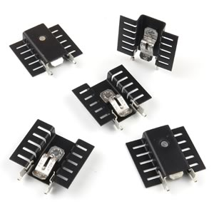 SALE! (Pkg 5) Medium Size TO-220 Black Anodized Heatsink with Clip