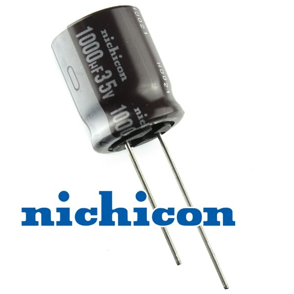 (Pkg 10) Nichicon 1000uF 35V Compact Electrolytic Capacitor