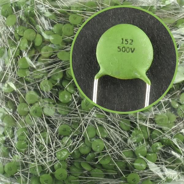 (Bag of 1,000) 0.0015uF 500V Ceramic Disc Capacitor