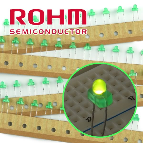 SALE - (Pkg 50) ROHM SLR-325MGT31 Green Round with Dome Top 3.2mm LED