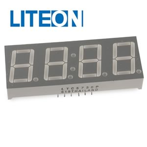 (Pkg 4) Liteon LTC5730P Red Clock Display Common Cathode