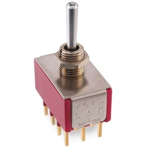 C&K 7415 4P Momentary-On-Momentary Miniature Panel Mount Toggle Switch