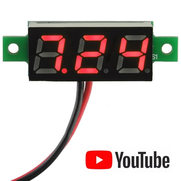 Mini 2.5V to 30VDC Red 3 Digit Voltmeter