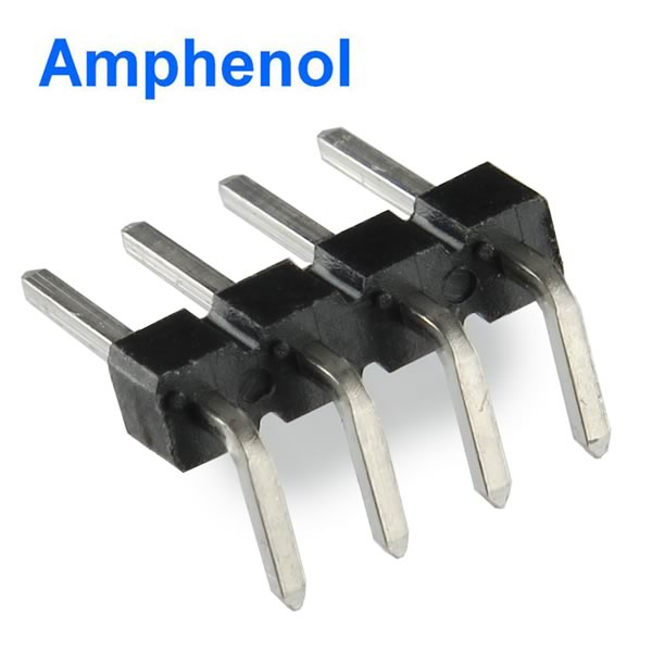 (Pkg 100) Amphenol/FCI 4 Position Right Angle Male Header