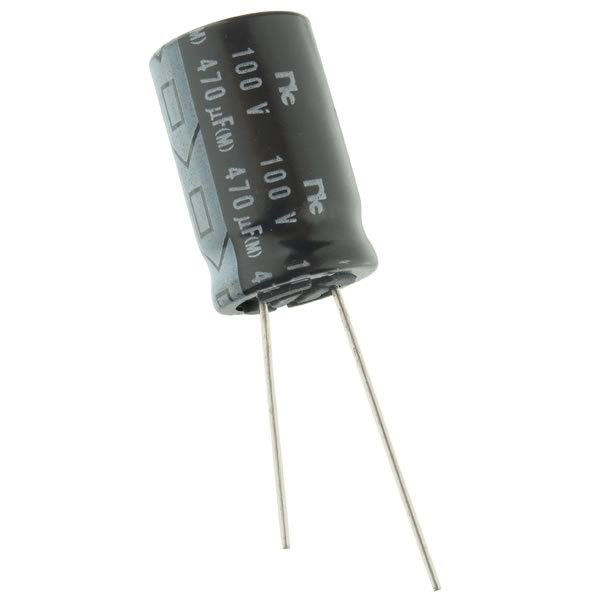 (Pkg 5) 470uF 100VDC Compact Radial Electrolytic Capacitor