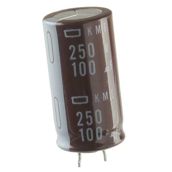 (Pkg 5) 100uF 250VDC Compact Radial Electrolytic Capacitor