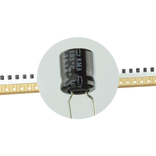 SALE - (Pkg 50) Compact 10uf 63VDC Radial Capacitor