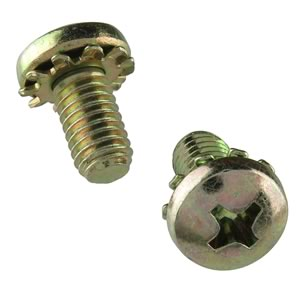 (Pkg 10) 10-32 x 3/8 Steel Screw with Lockwasher
