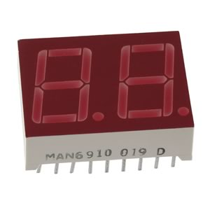 MAN6910 2 Digit Red Common Anode 7-Segment LED Display