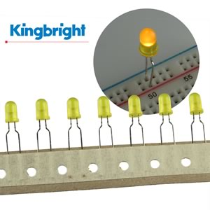 (Pkg 25) Kingbright T1 3/4 Yellow Diffused LED L53YDTNR5/7