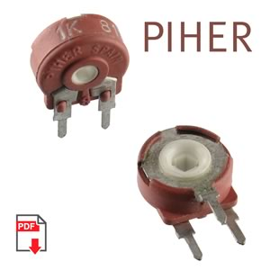 (Pkg 10) Piher 1K 10mm Vertical Mount Linear Taper Cermet Potentiometer