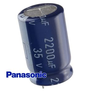 CLEARANCE! (Pkg 5) Panasonic 2200uF 35V Radial PC Lead Electrolytic Capacitor