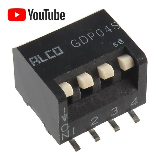 SALE! (Pkg 4) ALCO GDP04S 4 Position SMD Piano Actuator DIP Switch