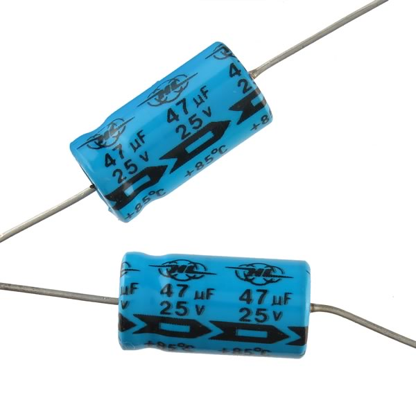 (Pkg 10) 47uF 25V Axial Electrolytic Capacitor