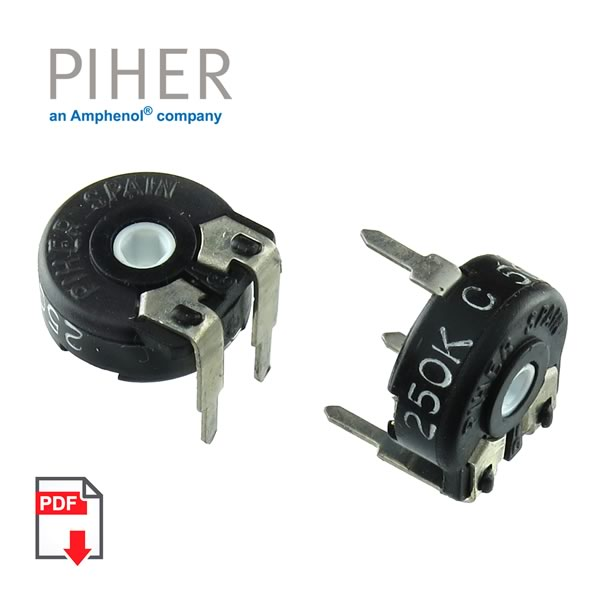 SALE! (Pkg 10) Piher PT10 Series 250K Horizontal Mount 10mm Trimmer Resistor