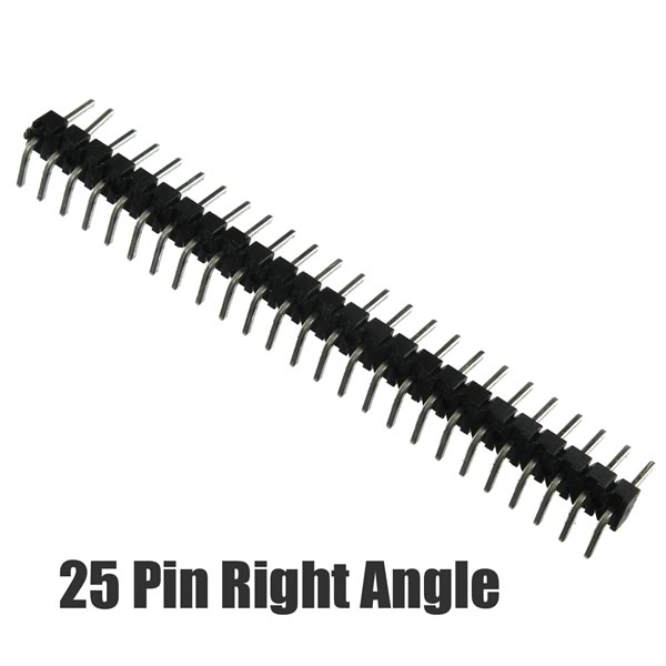 (Pkg 2) 25 pin Single Row Right Angle Snap Apart Male Header 2.54mm/5.75mm