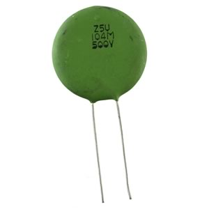 (Pkg 10) 0.1uF 500VDC Ceramic Disc Capacitor