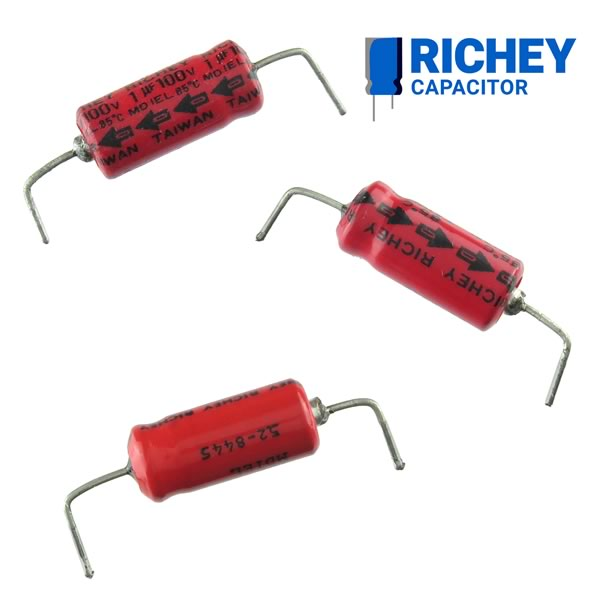 (Pkg 10) Richey 1uF 100V Axial Electrolytic Capacitor