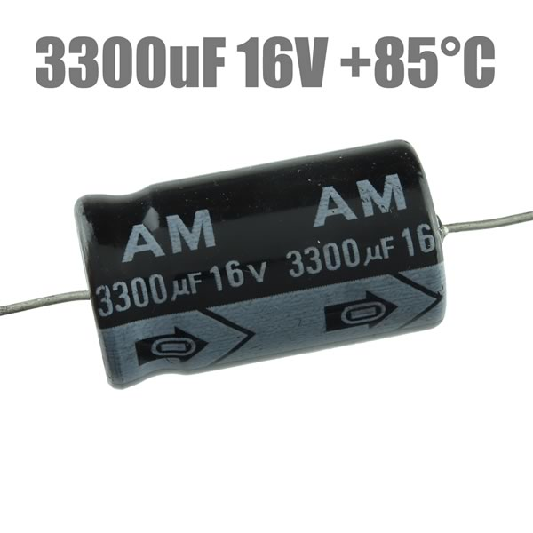 (Pkg 5) 3300uF 16V Axial Electrolytic Capacitor