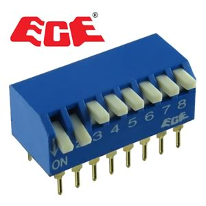 (Pkg 4) ECE 8 Position Edge Actuated (Piano Type) DIP Switch