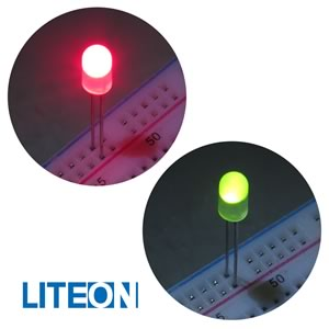(Pkg 10) Liteon LTL-307WJNF Super Bright Bipolar Red/Green 5mm LED