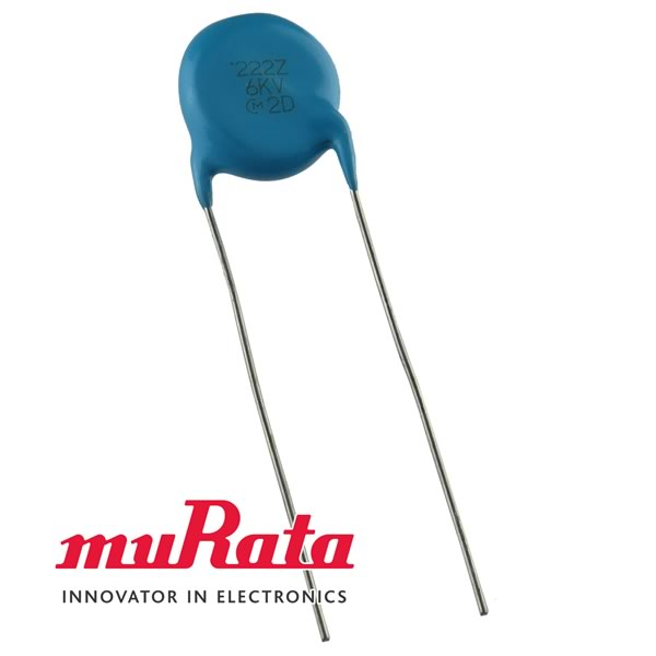 (Pkg 3) Murata 0.0022uF (222) 6kV High Voltage Disc Capacitor