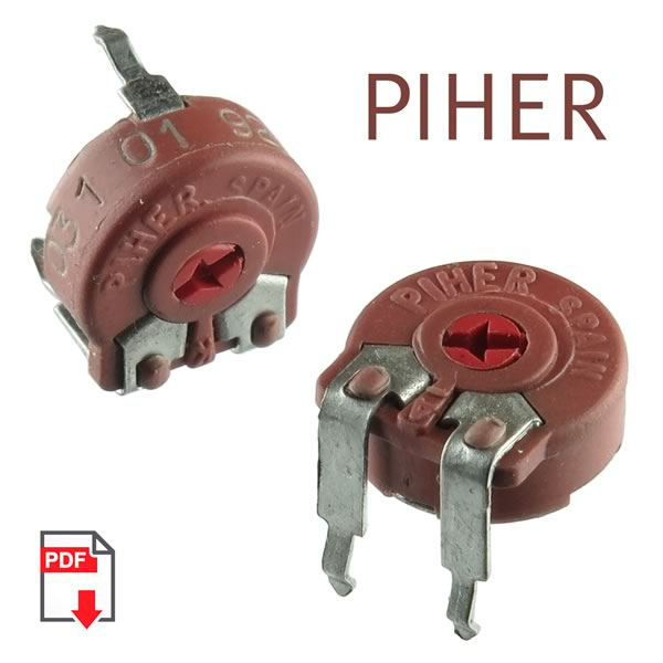 (Pkg 10) Piher PTC-10 Series 2K Horizontal Mount 10mm Cermet Potentiometer