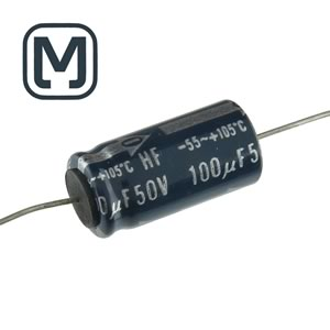 CLEARANCE! (Pkg 5) Panasonic 100uF 50V Axial Electrolytic Capacitor