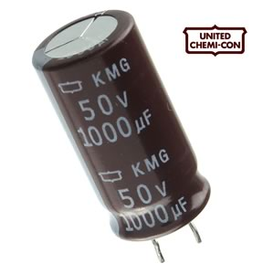 (Pkg 10) UCC 1000uF 50V Radial PC Lead Electrolytic Capacitor