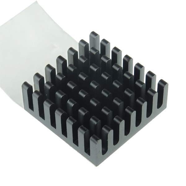 (Pkg 2) Square Black-Anodized Aluminum Heatsink 23x23x9.5mm w/ Thermal Tape