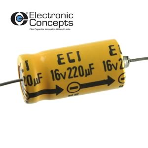 (Pkg 5) ECI 220uF 16V Axial Electrolytic Capacitor